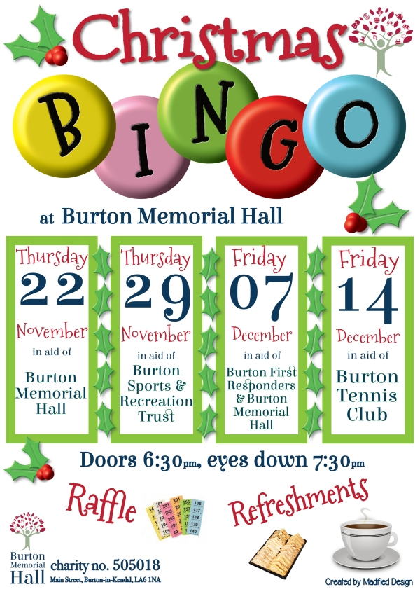 Christmas Bingo dates at the Burton Memorial Hall