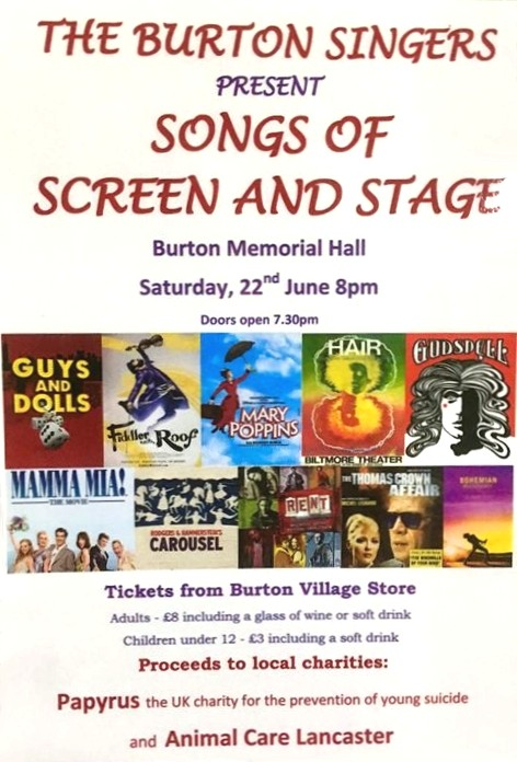 Burton Singers concert 22 June, Songs of Screen and Stage