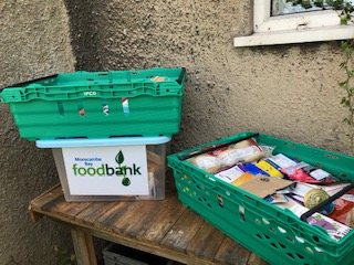 Morecambe Bay Food Bank collection point in Burton